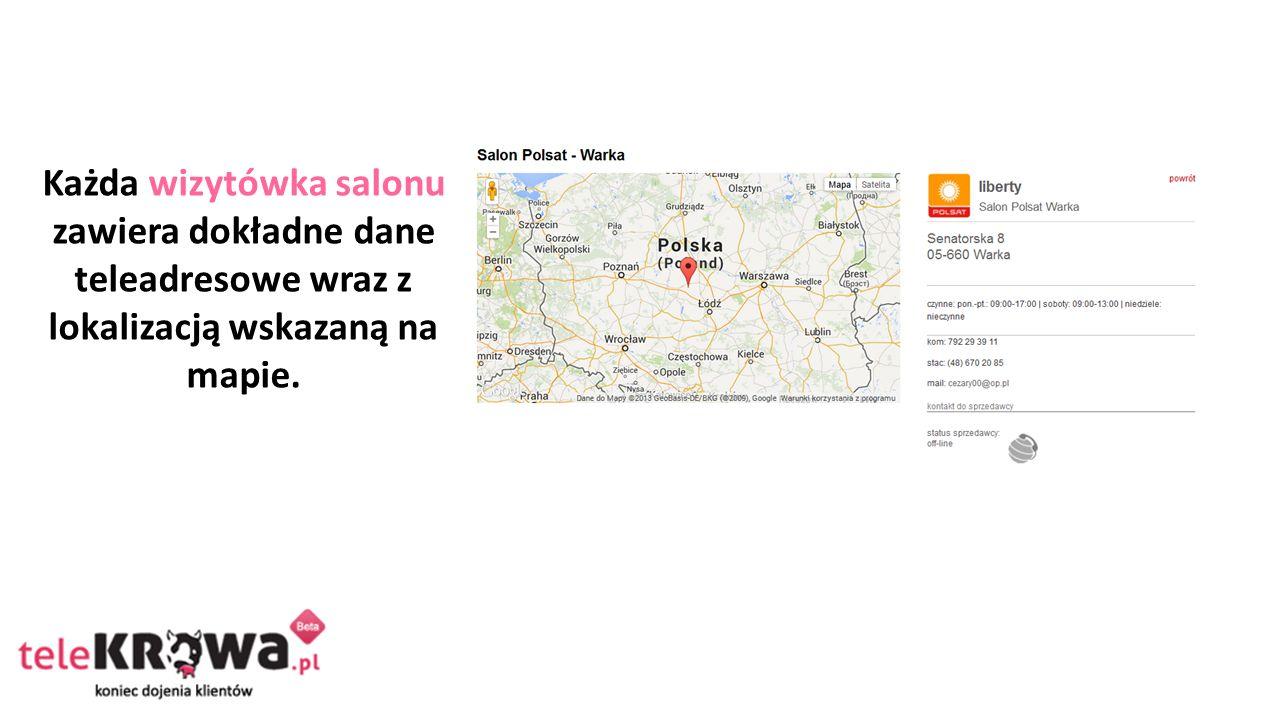 Każda wizytówka salonu zawiera dokładne dane teleadresowe wraz z lokalizacją wskazaną na mapie.