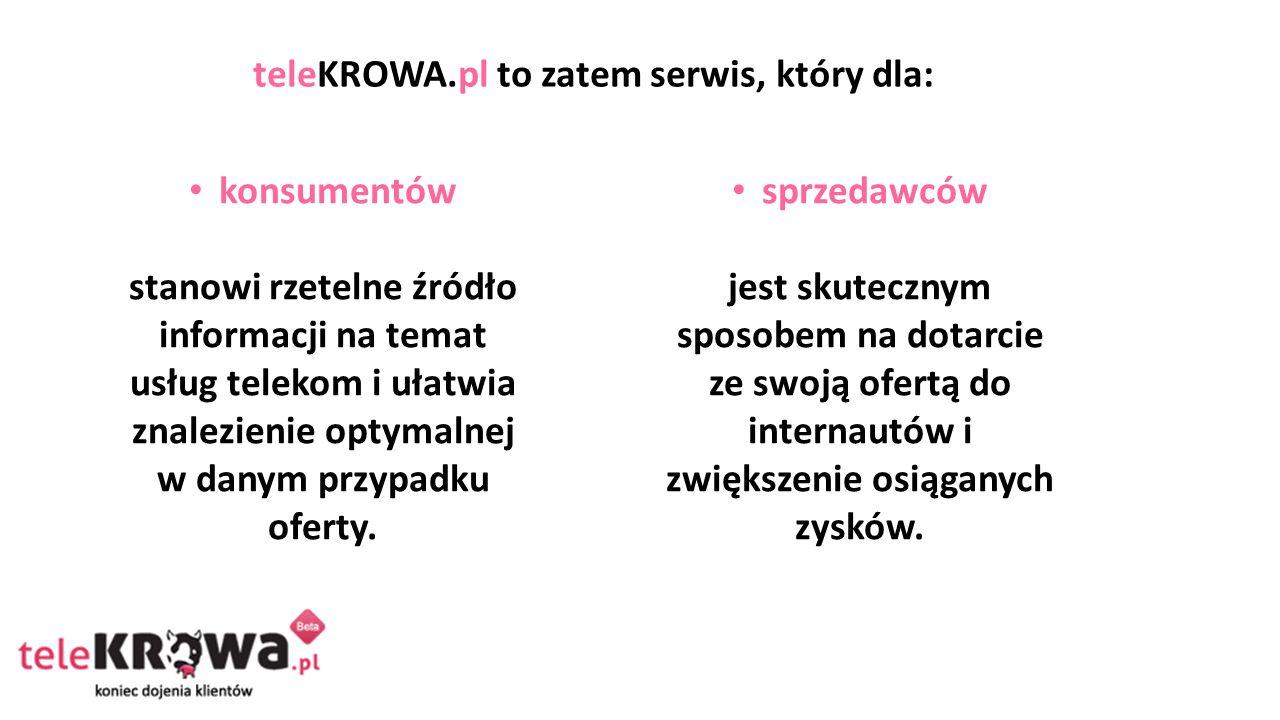 teleKROWA.pl to zatem serwis, który dla: konsumentów stanowi rzetelne źródło informacji na temat usług telekom i ułatwia znalezienie optymalnej w danym przypadku oferty.