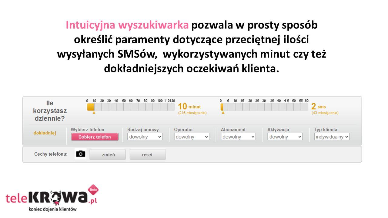 Intuicyjna wyszukiwarka pozwala w prosty sposób określić paramenty dotyczące przeciętnej ilości wysyłanych SMSów, wykorzystywanych minut czy też dokładniejszych oczekiwań klienta.