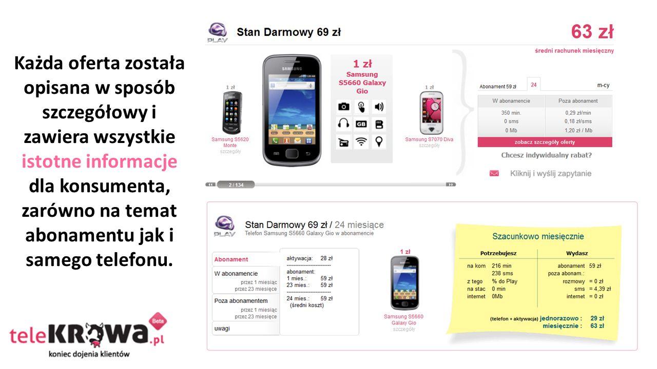 Każda oferta została opisana w sposób szczegółowy i zawiera wszystkie istotne informacje dla konsumenta, zarówno na temat abonamentu jak i samego telefonu.