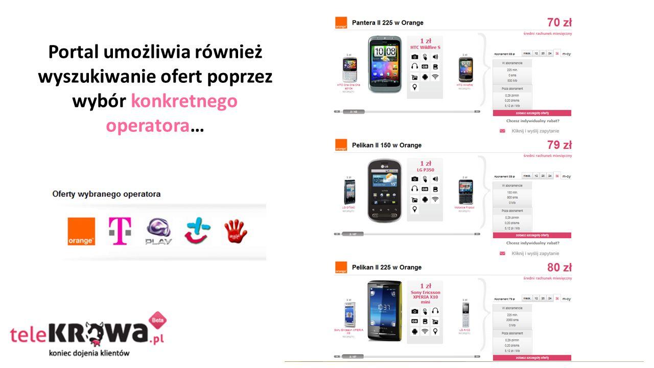 Portal umożliwia również wyszukiwanie ofert poprzez wybór konkretnego operatora…