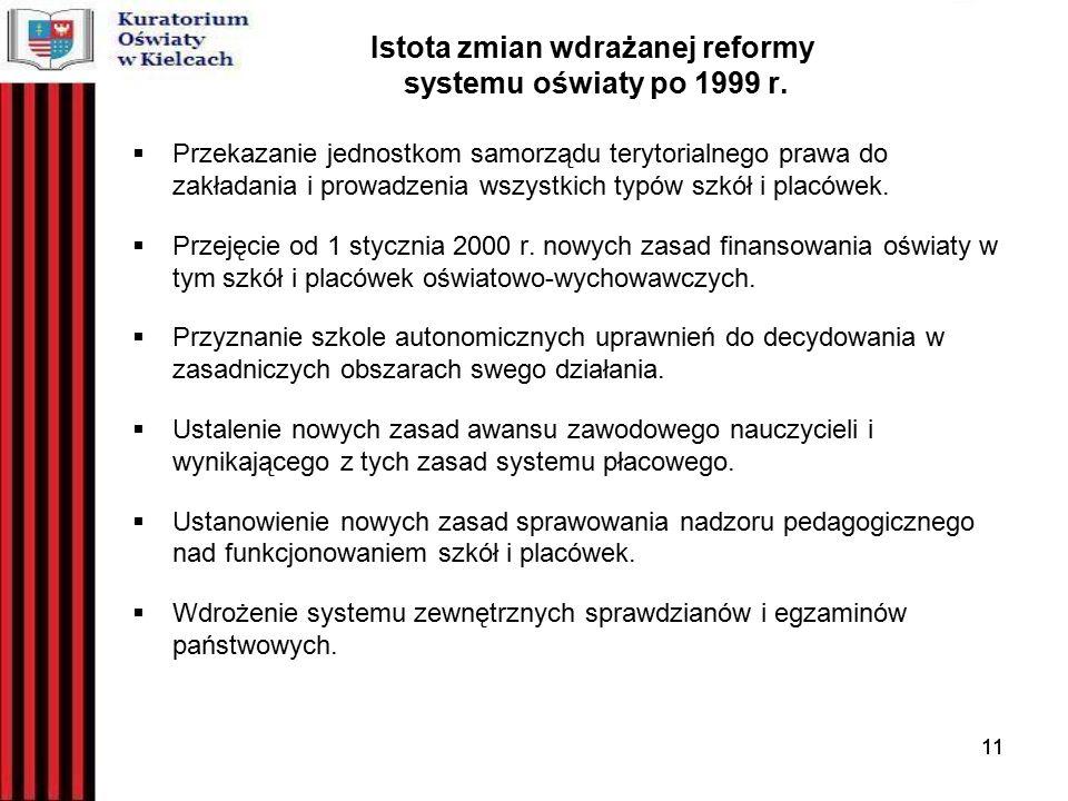11 Istota zmian wdrażanej reformy systemu oświaty po 1999 r.
