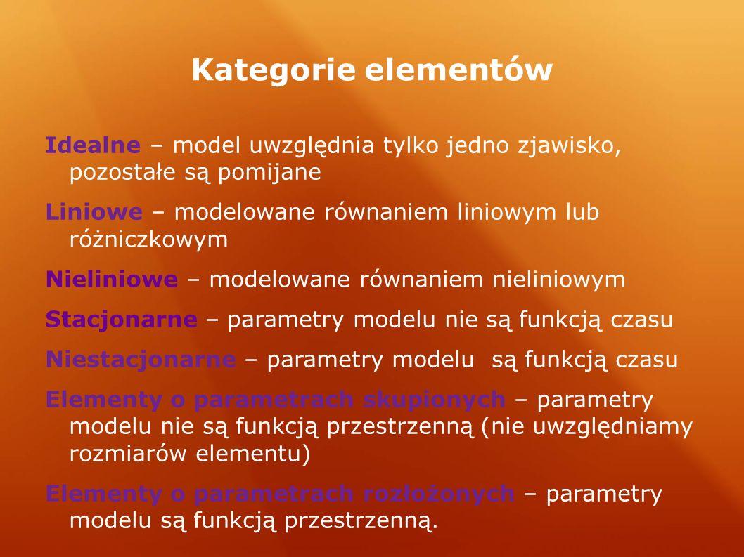 Kategorie elementów Idealne – model uwzględnia tylko jedno zjawisko, pozostałe są pomijane Liniowe – modelowane równaniem liniowym lub różniczkowym Nieliniowe – modelowane równaniem nieliniowym Stacjonarne – parametry modelu nie są funkcją czasu Niestacjonarne – parametry modelu są funkcją czasu Elementy o parametrach skupionych – parametry modelu nie są funkcją przestrzenną (nie uwzględniamy rozmiarów elementu) Elementy o parametrach rozłożonych – parametry modelu są funkcją przestrzenną.