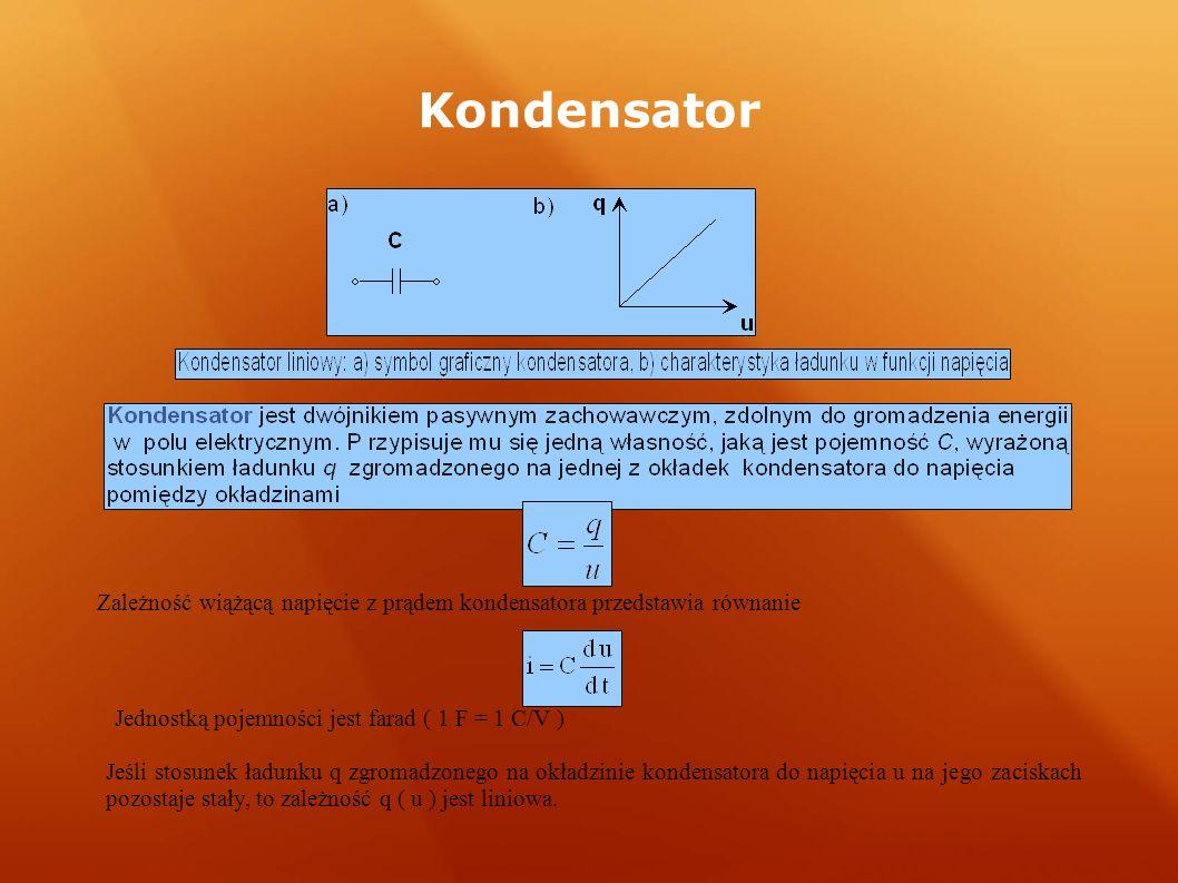 Kondensator Zależność wiążącą napięcie z prądem kondensatora przedstawia równanie Jednostką pojemności jest farad ( 1 F = 1 C/V ) Jeśli stosunek ładunku q zgromadzonego na okładzinie kondensatora do napięcia u na jego zaciskach pozostaje stały, to zależność q ( u ) jest liniowa.