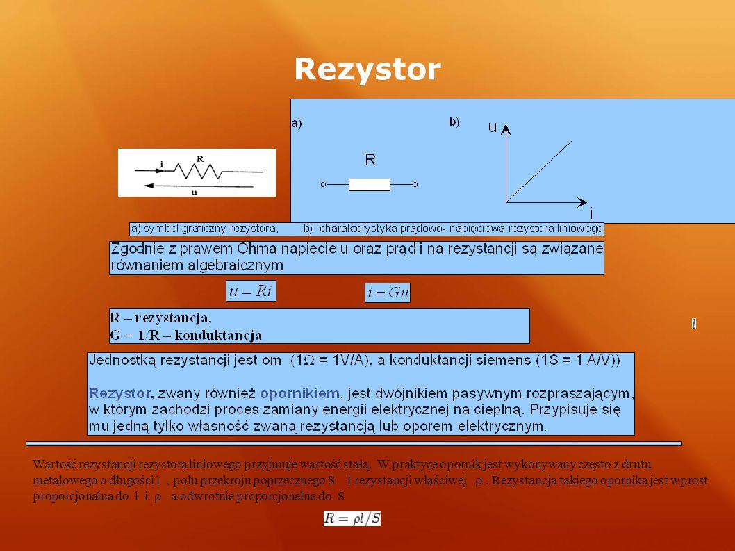 Rezystor Wartość rezystancji rezystora liniowego przyjmuje wartość stałą. W praktyce opornik jest wykonywany często z drutu metalowego o długości l, p