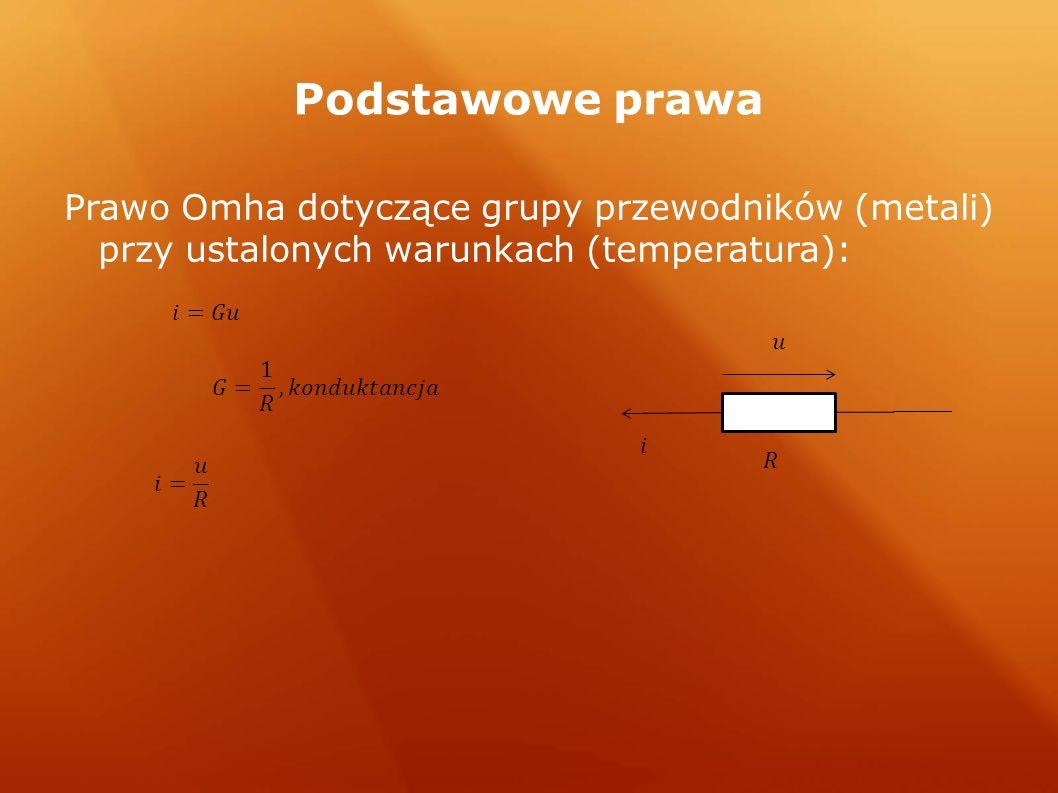 Podstawowe prawa Prawo Omha dotyczące grupy przewodników (metali) przy ustalonych warunkach (temperatura):