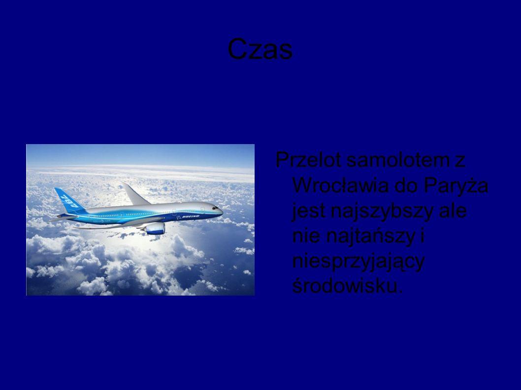 Czas Przelot samolotem z Wrocławia do Paryża jest najszybszy ale nie najtańszy i niesprzyjający środowisku.