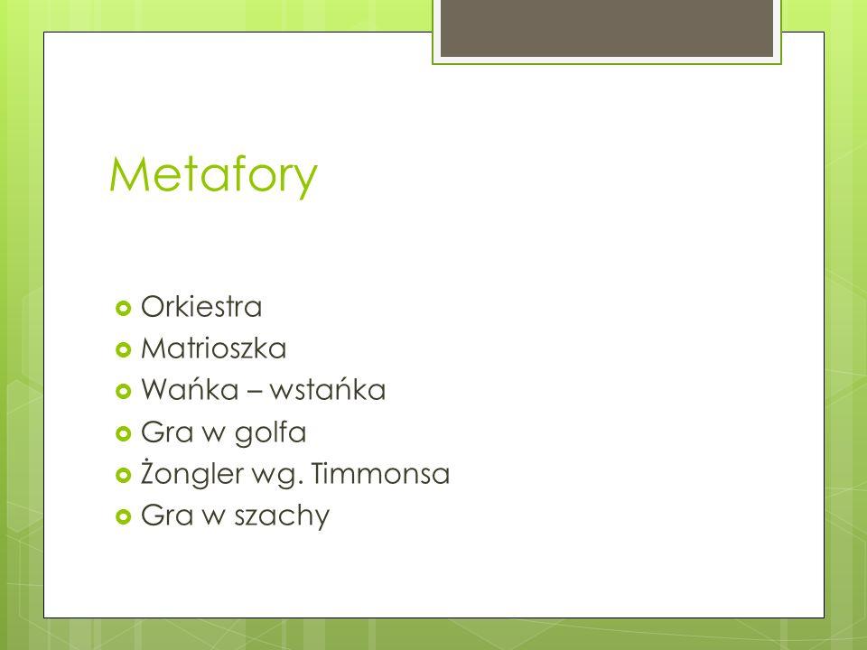 Metafory  Orkiestra  Matrioszka  Wańka – wstańka  Gra w golfa  Żongler wg. Timmonsa  Gra w szachy