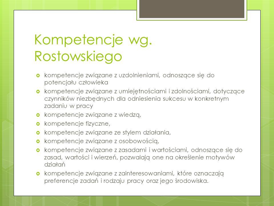 Kompetencje wg. Rostowskiego  kompetencje związane z uzdolnieniami, odnoszące się do potencjału człowieka  kompetencje związane z umiejętnościami i