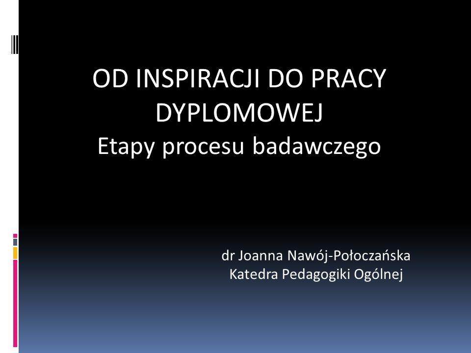 OD INSPIRACJI DO PRACY DYPLOMOWEJ Etapy procesu badawczego dr Joanna Nawój-Połoczańska Katedra Pedagogiki Ogólnej