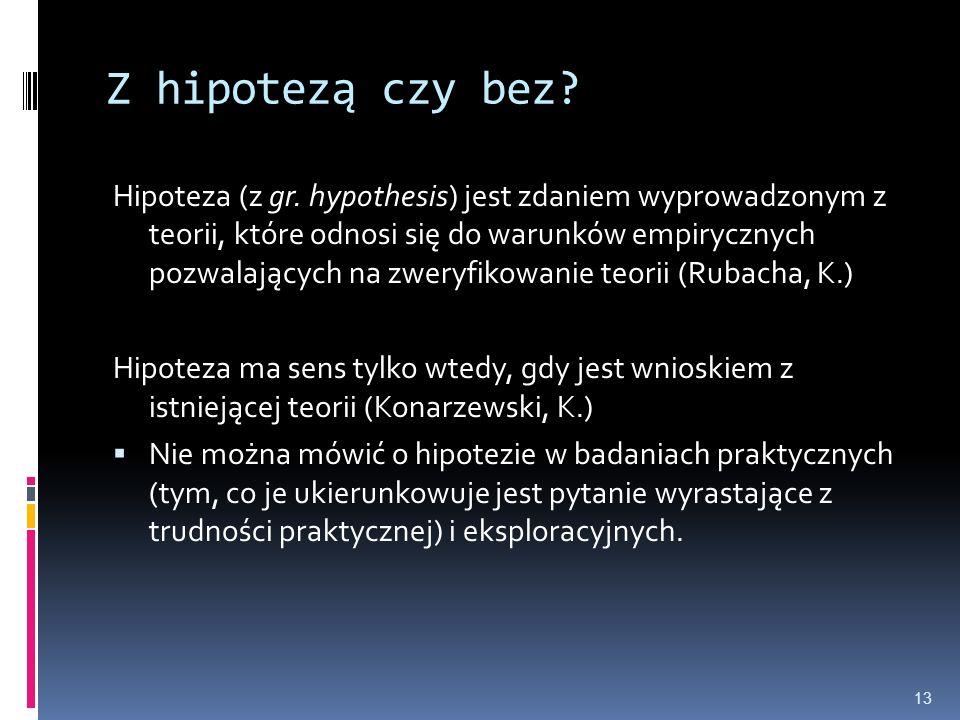 Z hipotezą czy bez? Hipoteza (z gr. hypothesis) jest zdaniem wyprowadzonym z teorii, które odnosi się do warunków empirycznych pozwalających na zweryf