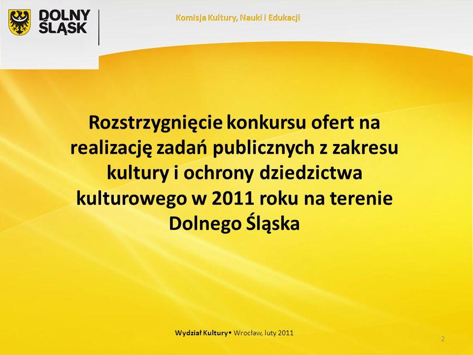 Rozstrzygnięcie konkursu ofert na realizację zadań publicznych z zakresu kultury i ochrony dziedzictwa kulturowego w 2011 roku na terenie Dolnego Śląska 2 Wydział Kultury Wrocław, luty 2011