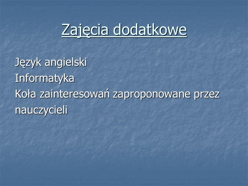 Zajęcia dodatkowe Język angielski Informatyka Koła zainteresowań zaproponowane przez nauczycieli