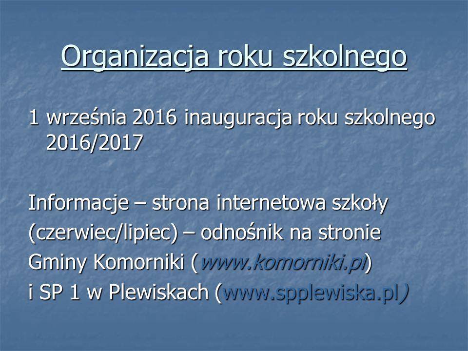 Organizacja roku szkolnego 1 września 2016 inauguracja roku szkolnego 2016/2017 Informacje – strona internetowa szkoły (czerwiec/lipiec) – odnośnik na stronie Gminy Komorniki (www.komorniki.pl) i SP 1 w Plewiskach (www.spplewiska.pl)