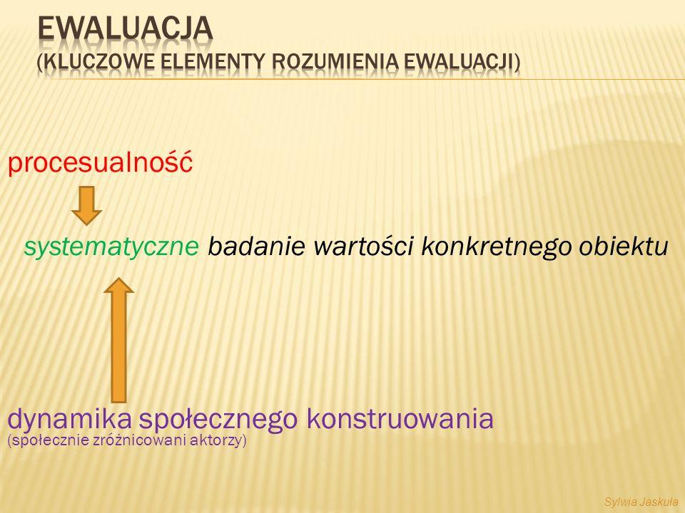 procesualność systematyczne badanie wartości konkretnego obiektu dynamika społecznego konstruowania (społecznie zróżnicowani aktorzy) Sylwia Jaskuła
