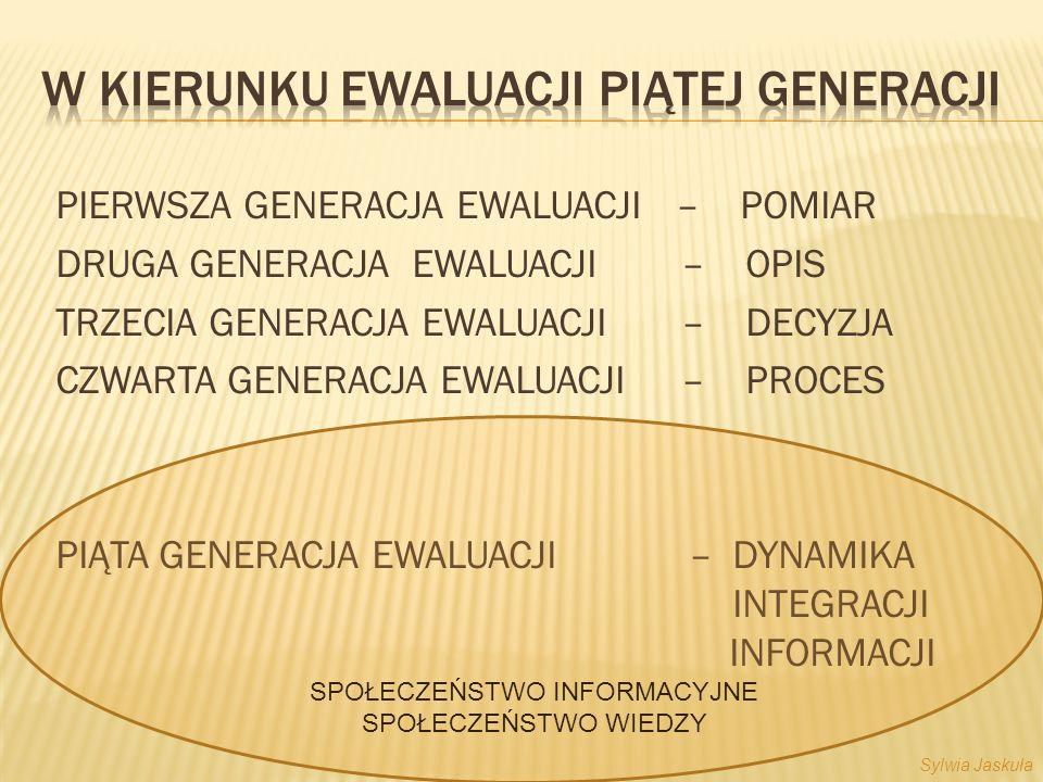 PIERWSZA GENERACJA EWALUACJI – POMIAR DRUGA GENERACJA EWALUACJI – OPIS TRZECIA GENERACJA EWALUACJI – DECYZJA CZWARTA GENERACJA EWALUACJI – PROCES PIĄTA GENERACJA EWALUACJI – DYNAMIKA INTEGRACJI INFORMACJI SPOŁECZEŃSTWO INFORMACYJNE SPOŁECZEŃSTWO WIEDZY Sylwia Jaskuła