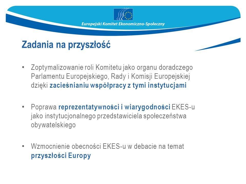 Zoptymalizowanie roli Komitetu jako organu doradczego Parlamentu Europejskiego, Rady i Komisji Europejskiej dzięki zacieśnianiu współpracy z tymi instytucjami Poprawa reprezentatywności i wiarygodności EKES-u jako instytucjonalnego przedstawiciela społeczeństwa obywatelskiego Wzmocnienie obecności EKES-u w debacie na temat przyszłości Europy Zadania na przyszłość