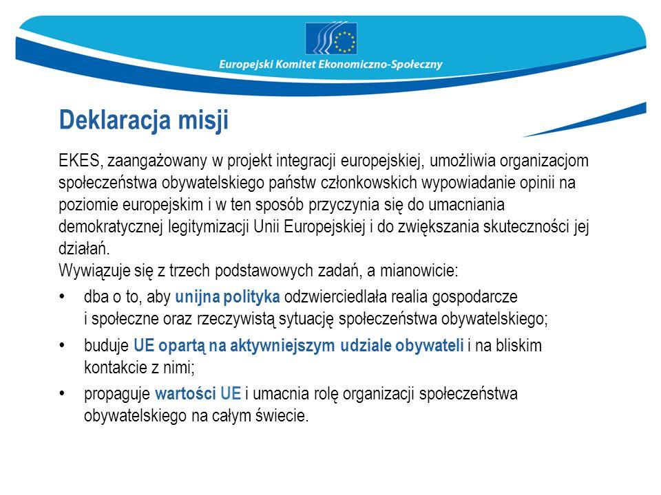 Deklaracja misji EKES, zaangażowany w projekt integracji europejskiej, umożliwia organizacjom społeczeństwa obywatelskiego państw członkowskich wypowiadanie opinii na poziomie europejskim i w ten sposób przyczynia się do umacniania demokratycznej legitymizacji Unii Europejskiej i do zwiększania skuteczności jej działań.