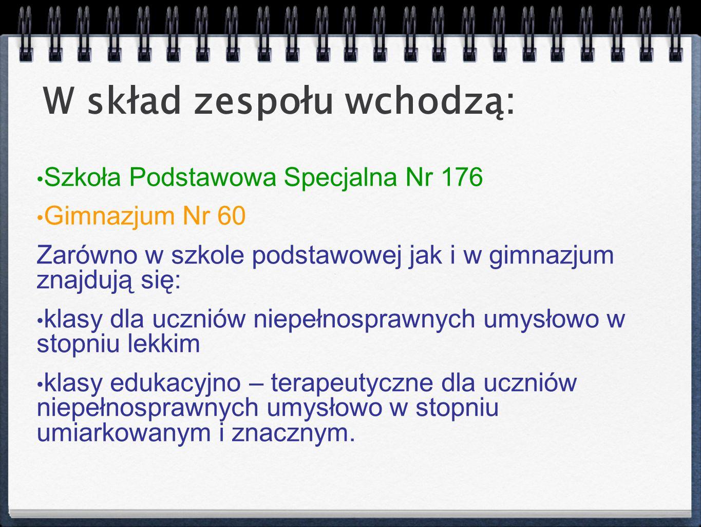 Szkoła Podstawowa Specjalna Nr 176 Gimnazjum Nr 60 Zarówno w szkole podstawowej jak i w gimnazjum znajdują się: klasy dla uczniów niepełnosprawnych um