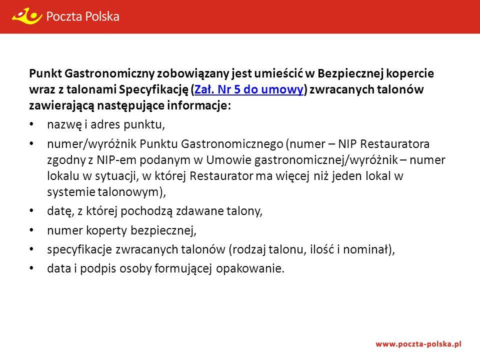 Punkt Gastronomiczny zobowiązany jest umieścić w Bezpiecznej kopercie wraz z talonami Specyfikację (Zał.