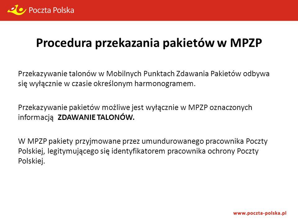Procedura przekazania pakietów w MPZP Przekazywanie talonów w Mobilnych Punktach Zdawania Pakietów odbywa się wyłącznie w czasie określonym harmonogramem.
