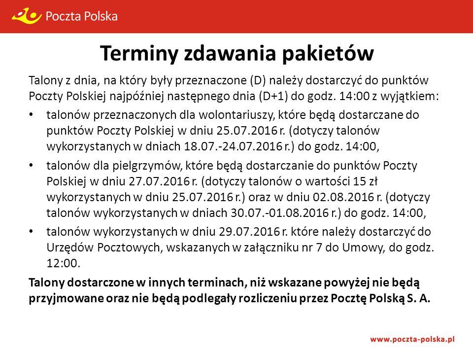 Terminy zdawania pakietów Talony z dnia, na który były przeznaczone (D) należy dostarczyć do punktów Poczty Polskiej najpóźniej następnego dnia (D+1) do godz.