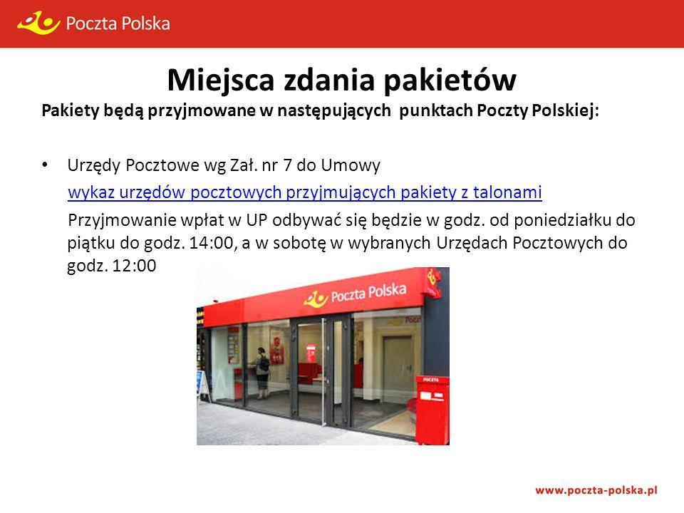 Miejsca zdania pakietów Pakiety będą przyjmowane w następujących punktach Poczty Polskiej: Urzędy Pocztowe wg Zał.