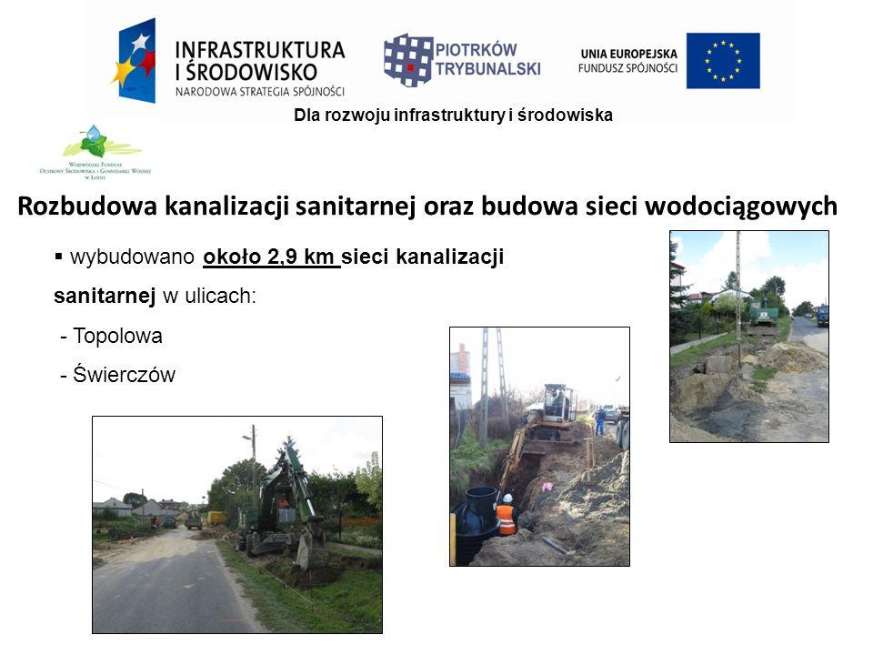  wybudowano około 2,9 km sieci kanalizacji sanitarnej w ulicach: - Topolowa - Świerczów Dla rozwoju infrastruktury i środowiska Rozbudowa kanalizacji sanitarnej oraz budowa sieci wodociągowych