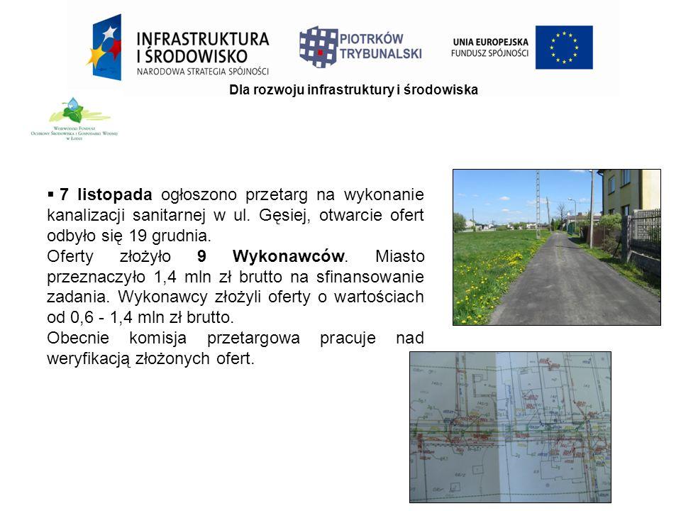 Dla rozwoju infrastruktury i środowiska  7 listopada ogłoszono przetarg na wykonanie kanalizacji sanitarnej w ul.