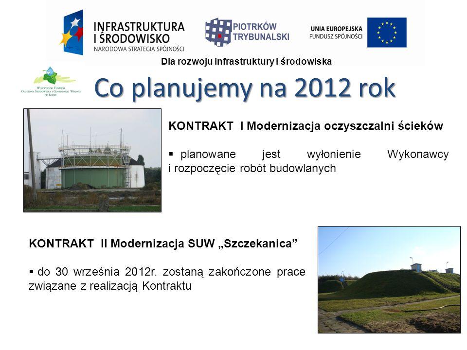 """Co planujemy na 2012 rok KONTRAKT I Modernizacja oczyszczalni ścieków  planowane jest wyłonienie Wykonawcy i rozpoczęcie robót budowlanych KONTRAKT II Modernizacja SUW """"Szczekanica  do 30 września 2012r."""