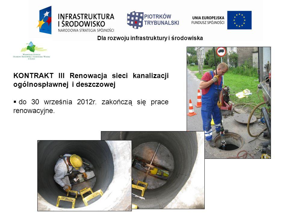 KONTRAKT III Renowacja sieci kanalizacji ogólnospławnej i deszczowej  do 30 września 2012r.