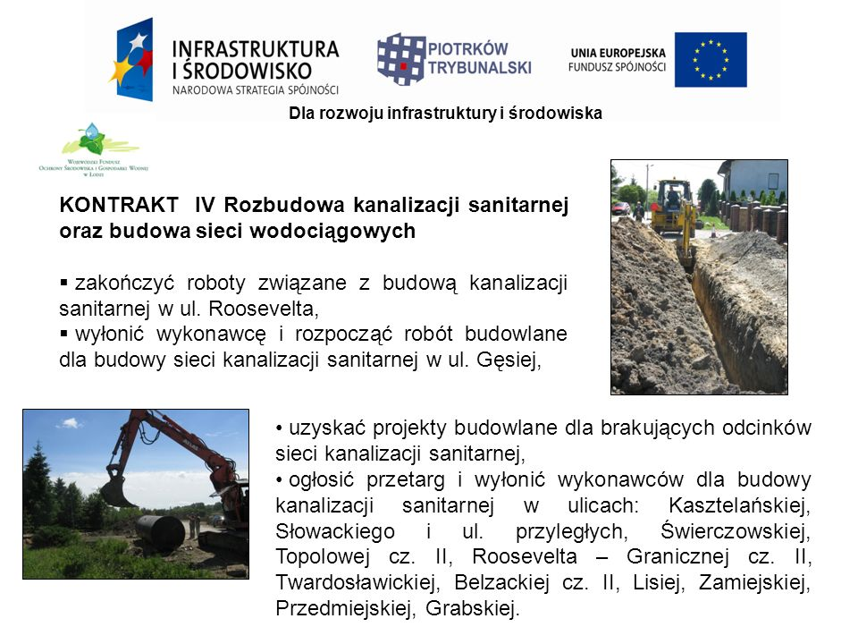 KONTRAKT IV Rozbudowa kanalizacji sanitarnej oraz budowa sieci wodociągowych  zakończyć roboty związane z budową kanalizacji sanitarnej w ul.