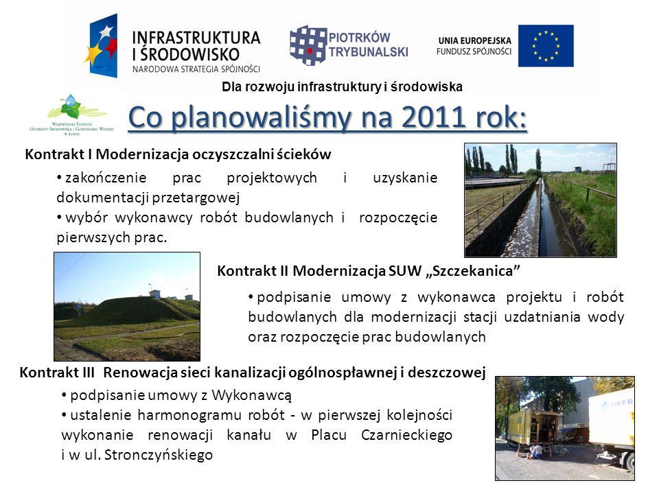Co planowaliśmy na 2011 rok: Dla rozwoju infrastruktury i środowiska Kontrakt I Modernizacja oczyszczalni ścieków zakończenie prac projektowych i uzyskanie dokumentacji przetargowej wybór wykonawcy robót budowlanych i rozpoczęcie pierwszych prac.