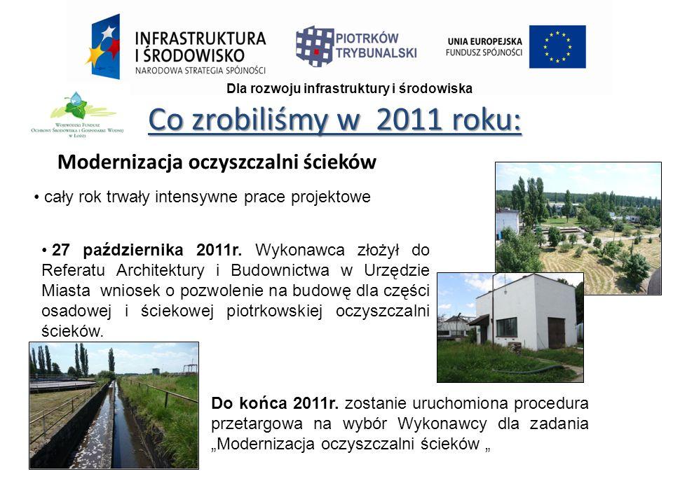 Co zrobiliśmy w 2011 roku: Dla rozwoju infrastruktury i środowiska Modernizacja oczyszczalni ścieków cały rok trwały intensywne prace projektowe 27 października 2011r.