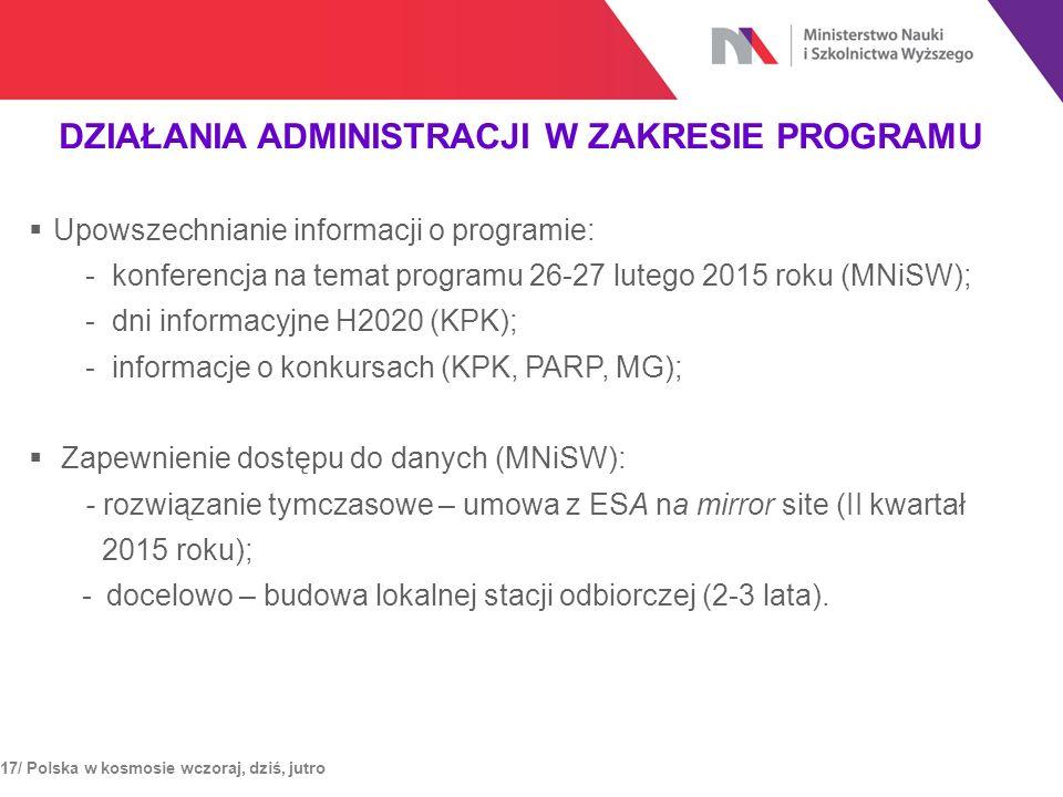 DZIAŁANIA ADMINISTRACJI W ZAKRESIE PROGRAMU 17/ Polska w kosmosie wczoraj, dziś, jutro  Upowszechnianie informacji o programie: - konferencja na tema