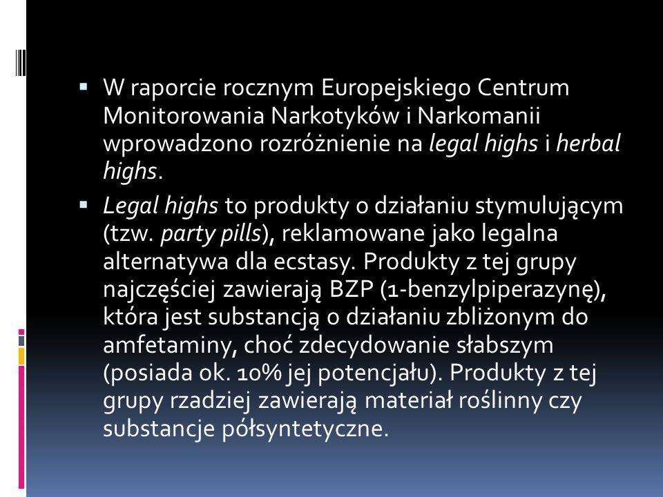  W raporcie rocznym Europejskiego Centrum Monitorowania Narkotyków i Narkomanii wprowadzono rozróżnienie na legal highs i herbal highs.