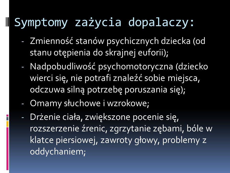 Symptomy zażycia dopalaczy: - Zmienność stanów psychicznych dziecka (od stanu otępienia do skrajnej euforii); - Nadpobudliwość psychomotoryczna (dziecko wierci się, nie potrafi znaleźć sobie miejsca, odczuwa silną potrzebę poruszania się); - Omamy słuchowe i wzrokowe; - Drżenie ciała, zwiększone pocenie się, rozszerzenie źrenic, zgrzytanie zębami, bóle w klatce piersiowej, zawroty głowy, problemy z oddychaniem;