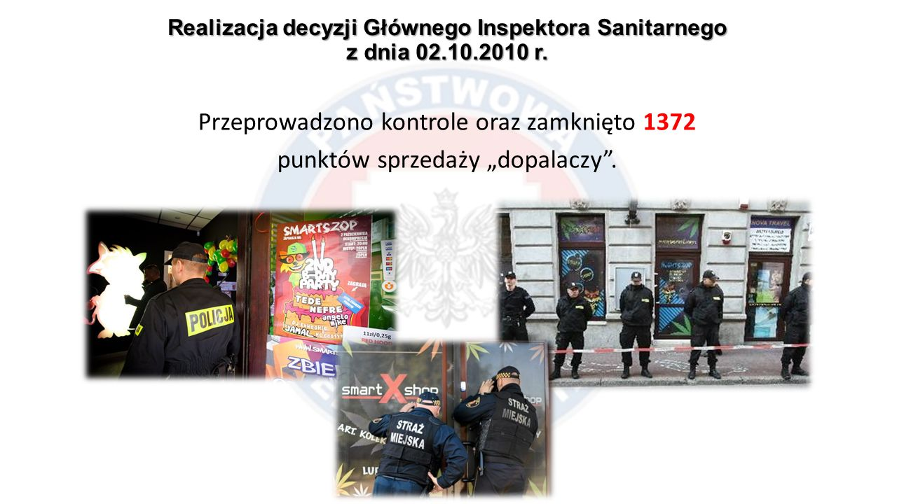 """Realizacja decyzji Głównego Inspektora Sanitarnego z dnia 02.10.2010 r. Przeprowadzono kontrole oraz zamknięto 1372 punktów sprzedaży """"dopalaczy""""."""