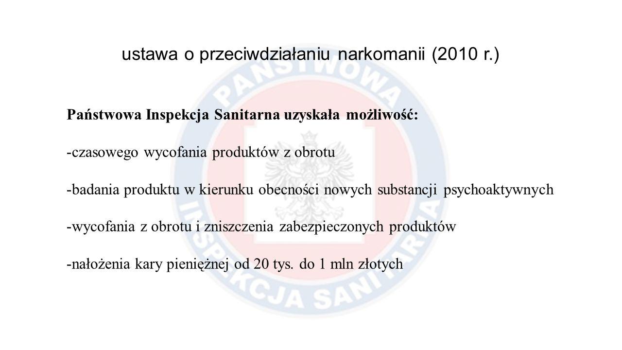 ustawa o przeciwdziałaniu narkomanii (2010 r.) Państwowa Inspekcja Sanitarna uzyskała możliwość: -czasowego wycofania produktów z obrotu -badania prod