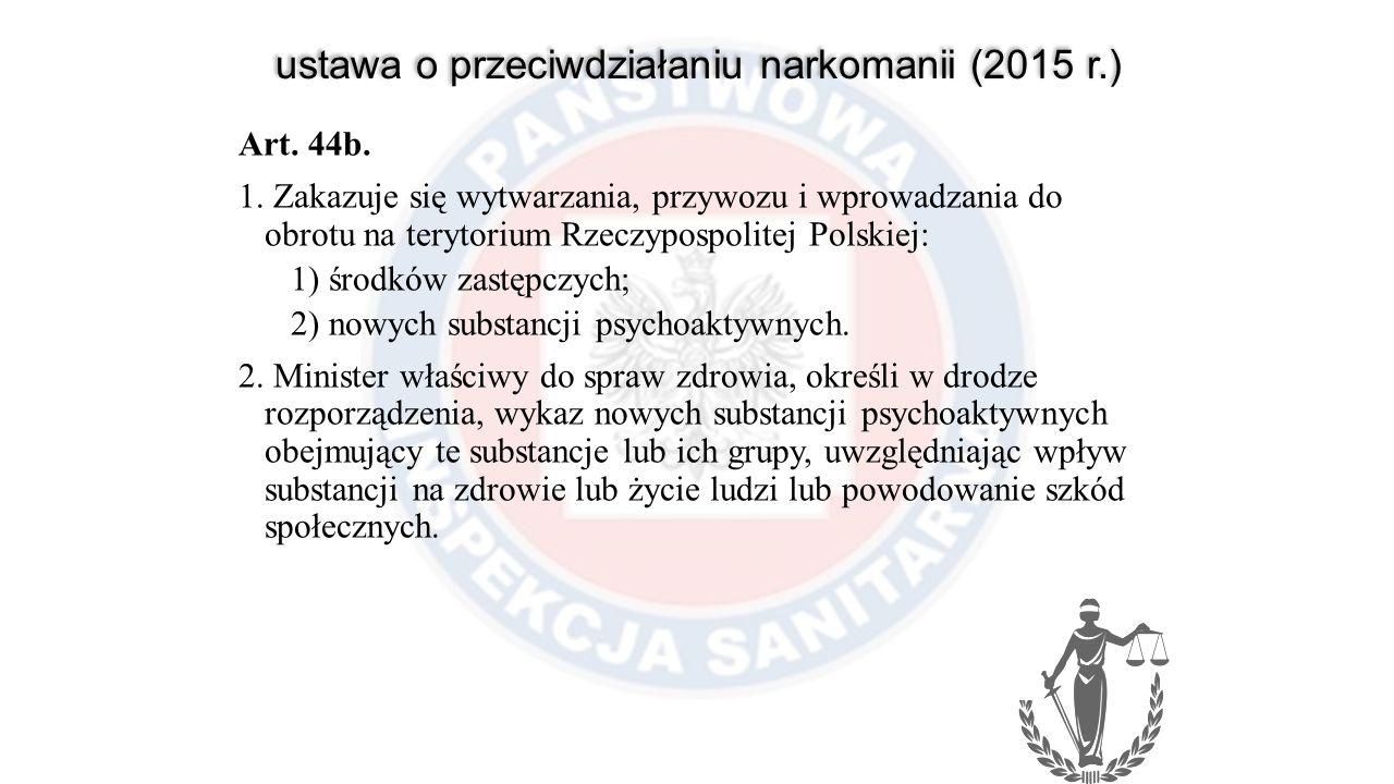 ustawa o przeciwdziałaniu narkomanii (2015 r.) Art. 44b. 1. Zakazuje się wytwarzania, przywozu i wprowadzania do obrotu na terytorium Rzeczypospolitej