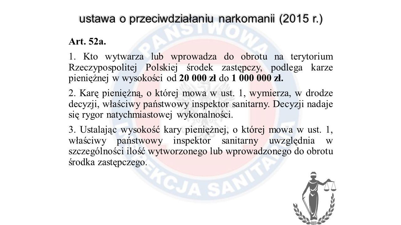 ustawa o przeciwdziałaniu narkomanii (2015 r.) Art. 52a. 1. Kto wytwarza lub wprowadza do obrotu na terytorium Rzeczypospolitej Polskiej środek zastęp