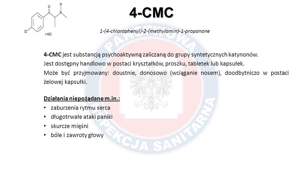 4-CMC 1-(4-chlorophenyl)-2-(methylamin)-1-propanone 4-CMC jest substancją psychoaktywną zaliczaną do grupy syntetycznych katynonów. Jest dostępny hand