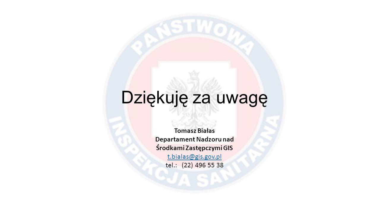 Dziękuję za uwagę Tomasz Białas Departament Nadzoru nad Środkami Zastępczymi GIS t.bialas@gis.gov.pl tel.: (22) 496 55 38