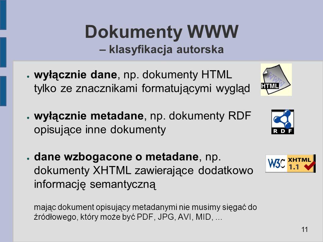 Dokumenty WWW – klasyfikacja autorska ● wyłącznie dane, np.
