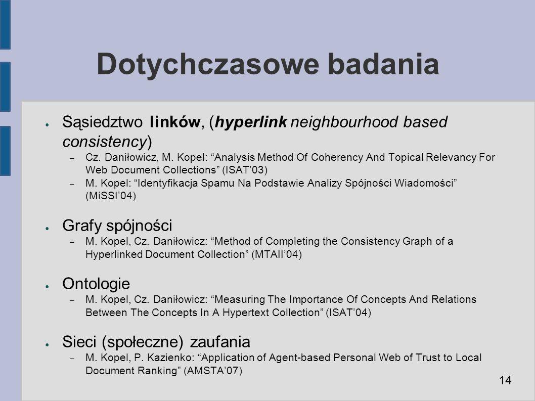 Dotychczasowe badania ● Sąsiedztwo linków, (hyperlink neighbourhood based consistency) – Cz.