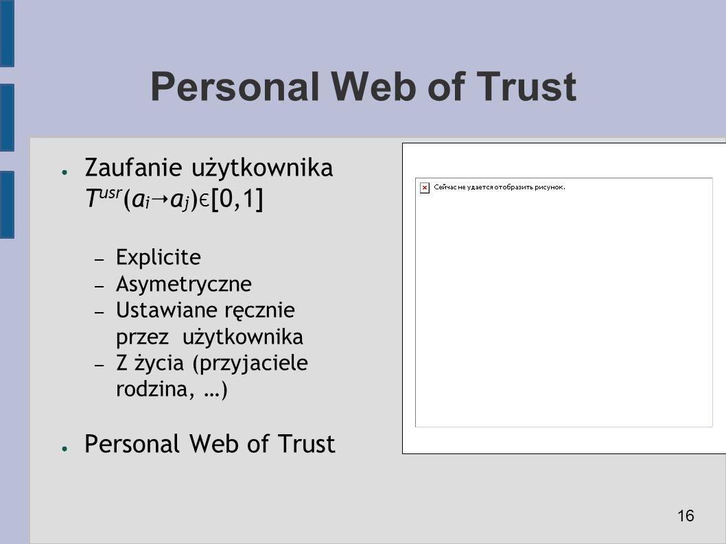 ● Zaufanie użytkownika T usr (a i  a j ) Є [0,1] – Explicite – Asymetryczne – Ustawiane ręcznie przez użytkownika – Z życia (przyjaciele rodzina, …) ● Personal Web of Trust Personal Web of Trust 16