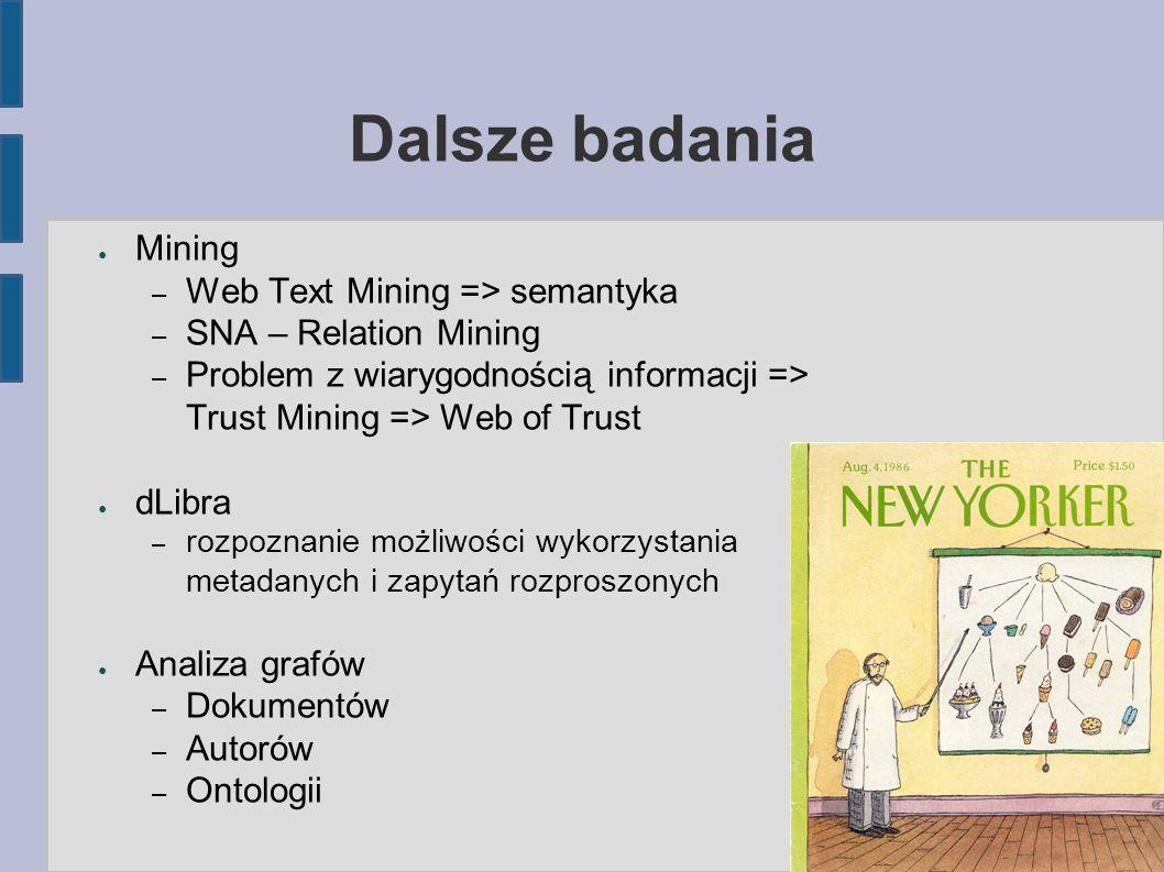 Dalsze badania ● Mining – Web Text Mining => semantyka – SNA – Relation Mining – Problem z wiarygodnością informacji => Trust Mining => Web of Trust ● dLibra – rozpoznanie możliwości wykorzystania metadanych i zapytań rozproszonych ● Analiza grafów – Dokumentów – Autorów – Ontologii 21