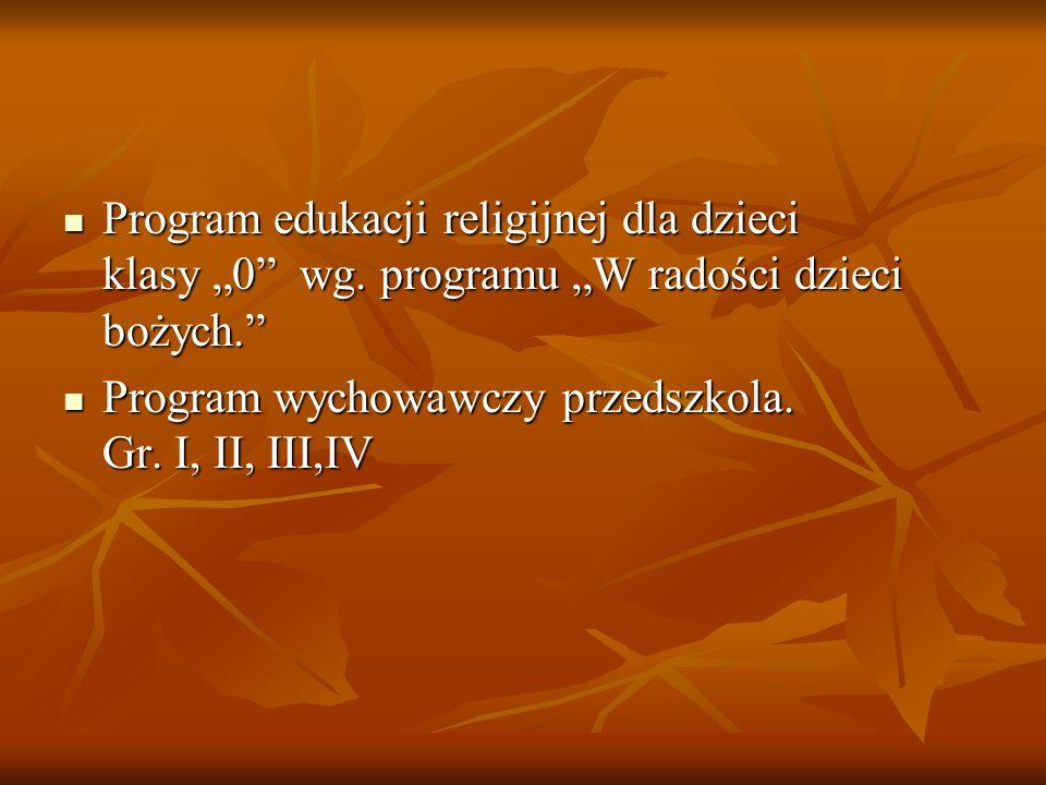 """Program edukacji religijnej dla dzieci klasy """"0 wg."""