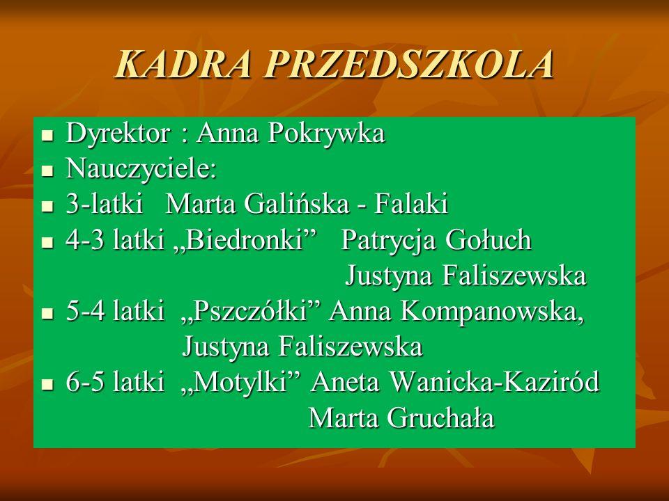 """KADRA PRZEDSZKOLA Dyrektor : Anna Pokrywka Dyrektor : Anna Pokrywka Nauczyciele: Nauczyciele: 3-latki Marta Galińska - Falaki 3-latki Marta Galińska - Falaki 4-3 latki """"Biedronki Patrycja Gołuch 4-3 latki """"Biedronki Patrycja Gołuch Justyna Faliszewska Justyna Faliszewska 5-4 latki """"Pszczółki Anna Kompanowska, 5-4 latki """"Pszczółki Anna Kompanowska, Justyna Faliszewska Justyna Faliszewska 6-5 latki """"Motylki Aneta Wanicka-Kaziród 6-5 latki """"Motylki Aneta Wanicka-Kaziród Marta Gruchała Marta Gruchała"""