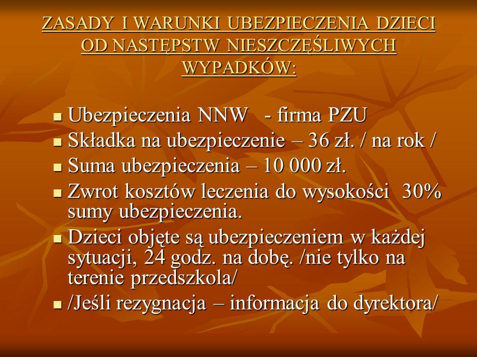 ZASADY I WARUNKI UBEZPIECZENIA DZIECI OD NASTĘPSTW NIESZCZĘŚLIWYCH WYPADKÓW: Ubezpieczenia NNW - firma PZU Ubezpieczenia NNW - firma PZU Składka na ubezpieczenie – 36 zł.